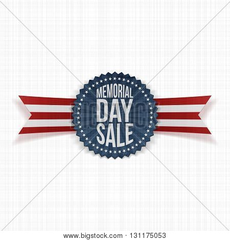 Memorial Day Sale festive Badge and Ribbon. National American Holiday Background Template. Vector Illustration.