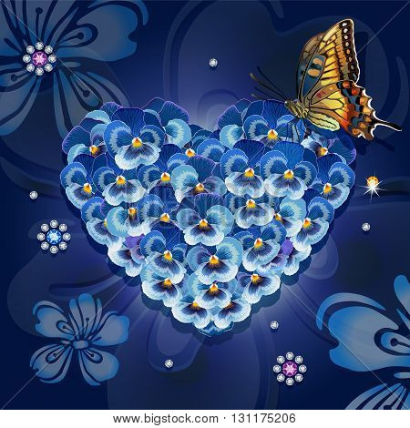 Heart of violets with a butterfly on a blue background with crystals
