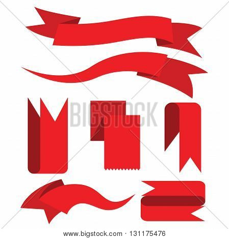 collection of red label banners, red ribbons