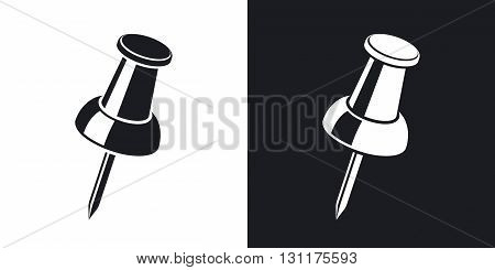 Vector pushpin icon. Two-tone version on black and white background