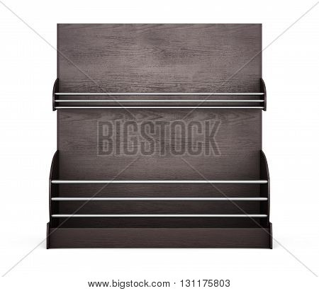 Wooden shelves for supermarket on a white background. Shelves for bread. Rack for baking. Front view. 3d rendering