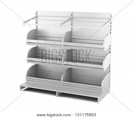 Wooden rack for bakery products isolated on white background. Shelves for bread. Shelf for baking. 3d rendering