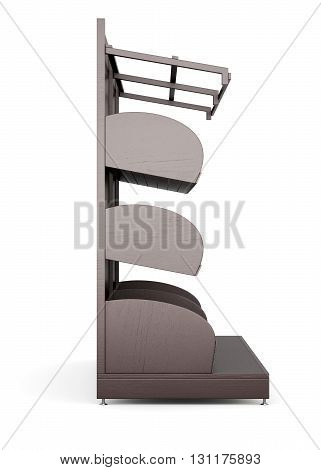 Supermarket shelves for bakery products on a white background. Side view. 3d rendering