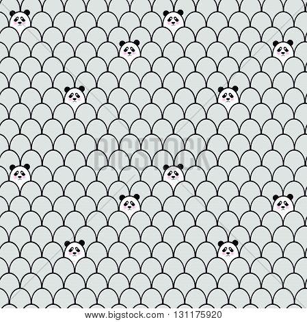 Cute panda face pattern. Background for kids
