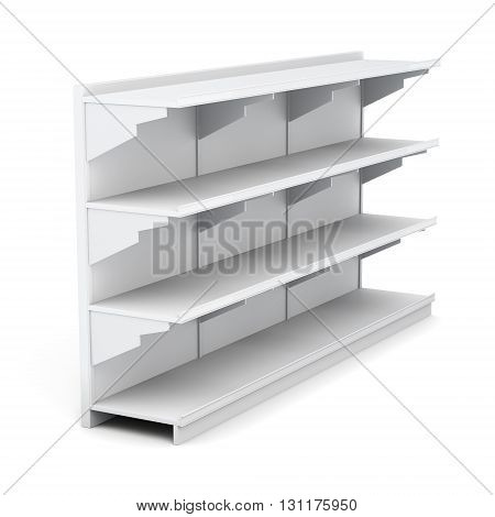 Supermarket rack with empty shelves isolated on white background. 3d rendering.