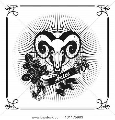 vector illustration zodiac sign Aries emblem vintage frame with feathers black and white