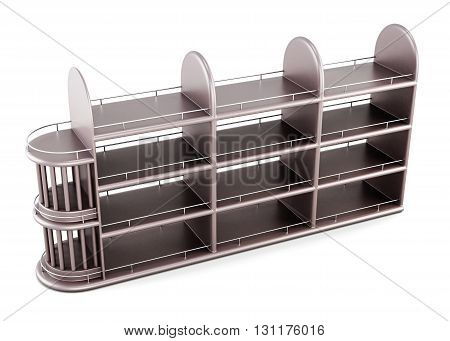 Wooden rack of alcoholic beverages isolated on white background. Top view. 3d render image