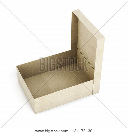 Open cardboard box isolated on white background. Rectangular box. Box with lid. 3d rendering.