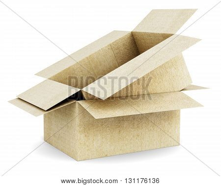 Cardboard box in a carton isolated on a white background. 3d rendering.