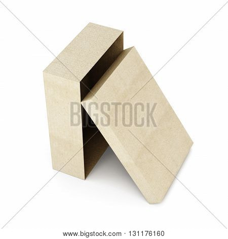 Cardboard box vertically on a white background. 3d rendering.