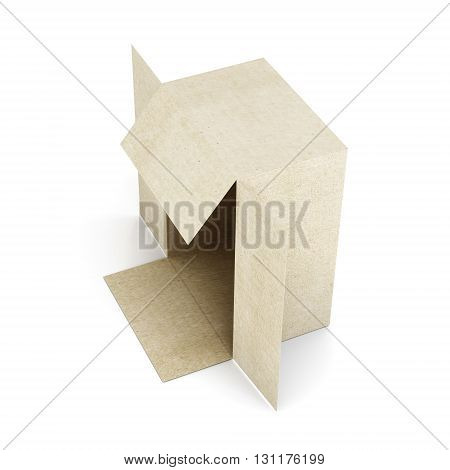 Carton box isolated on white background. 3d render image.