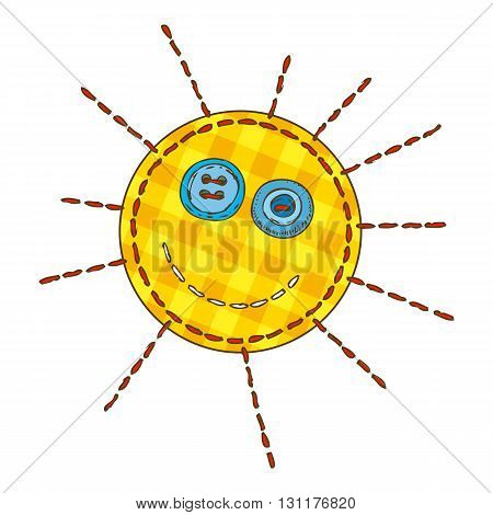 Yellow Funny Sun in Patchwork Style. Isolated on a White Background