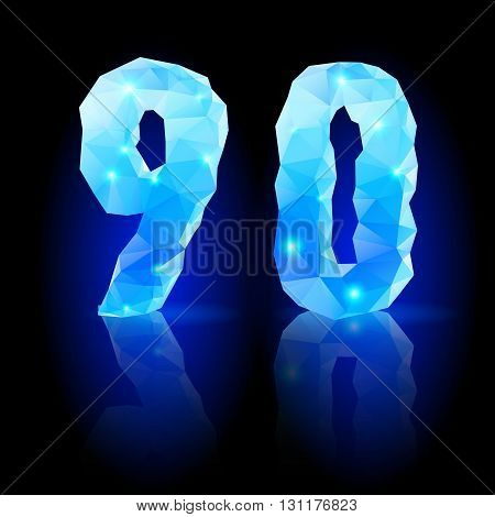 Shiny blue polygonal font. Crystal style nine and zero numerals with reflection on black backround