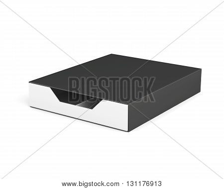 Closed and blank box isolated on white background. Laminated cardboard. Plastic box. With separators. 3d rendering