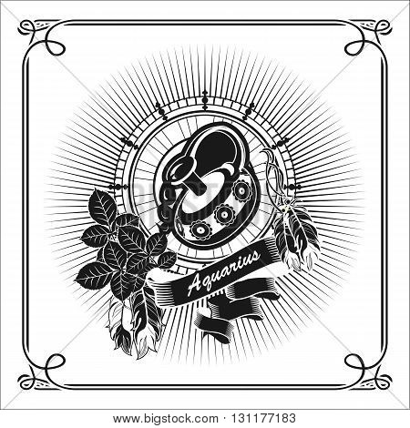 vector illustration Aquarius horoscope frame in vintage black and white