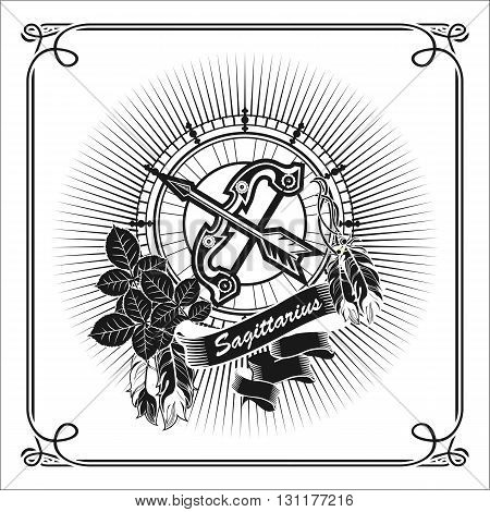 vector illustration Sagittarius horoscope frame in vintage black and white