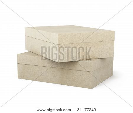 Two closed boxes on each other isolated on white background. Empty box, blank cardboard box. 3d rendering.