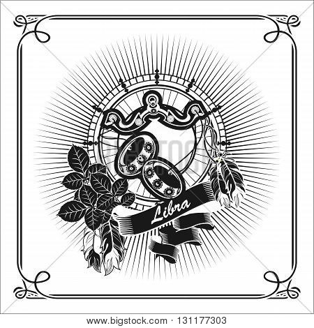 vector illustration scales zodiac sign emblem in the style of boho black and white
