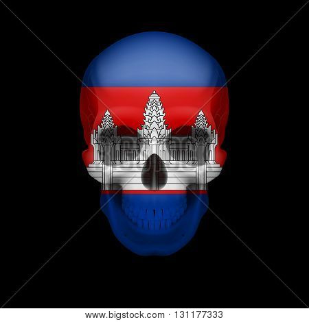 Human skull with flag of Cambodia. Threat to national security war or dying out