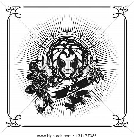 astrological sign Leo on the rectangle in vintage style lisyah rose with black and white banners