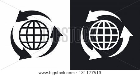 Vector globe icon and recycle sign. Two-tone version on black and white background