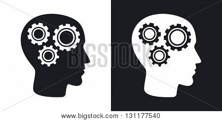 Vector head mechanism icon. Two-tone version on black and white background