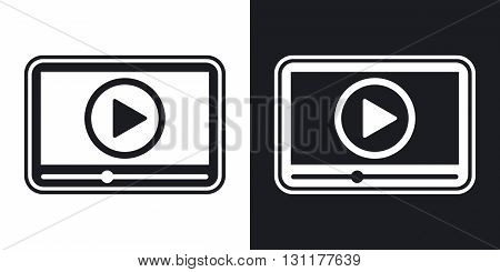 Vector media player icon. Two-tone version on black and white background
