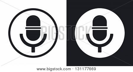 Vector microphone icon. Two-tone version on black and white background