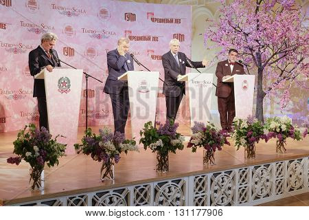 Moscow, Russia - May, 23, 2016: ambassador of Italy in Russia Cesare Maria Ragaglini, businessman Mikhail Kusnirovich,  directors of La Scala Aleksander Pereira and of Bolshoy Theatre Vladimir Urin.