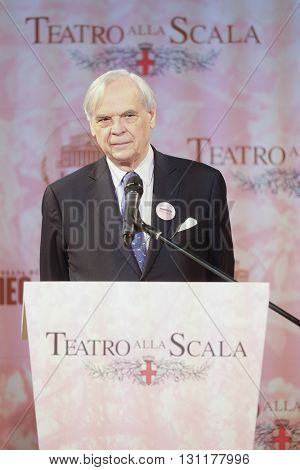 Moscow, Russia - May, 23, 2016: artistic director of the La Scala Aleksander Pereira on the press conference devoted to tours of the La Scala theater in Moscow.