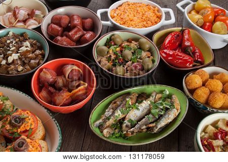 Tapas, antipasto or mezze, mediterranean cold buffet meals
