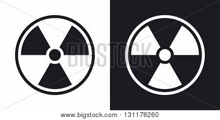Vector nuclear sign or icon. Two-tone version on black and white background