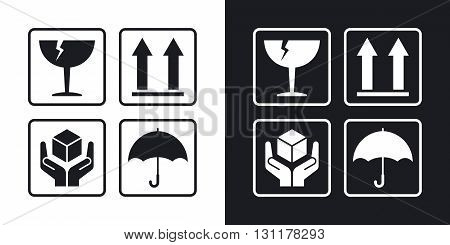 Vector packaging symbols. Two-tone version on black and white background