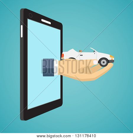Hand holding car from screen of smartphone. Flat design.