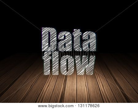 Information concept: Glowing text Data Flow in grunge dark room with Wooden Floor, black background