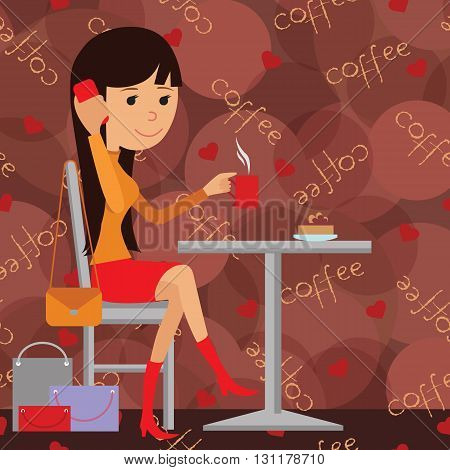 Vector illustration of template for menu, brochure, flyers for a cafe or restaurant with a picture of a young girl sitting at a table drinking coffee and using phone.