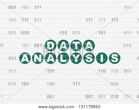 Data concept: Painted green text Data Analysis on White Brick wall background with Binary Code