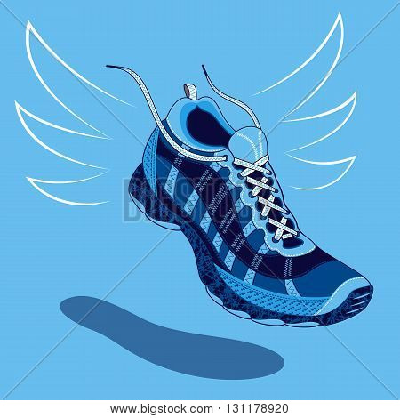 Single blue sneaker or sports shoe with flying laces floating above a drop shadow over a light blue background vector illustration