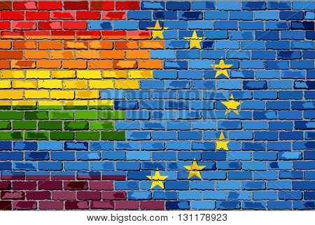 Brick Wall European Union and Gay flags - Illustration, Rainbow flag on brick textured background,  Flag of gay pride movement painted on brick wall, Abstract grunge European Union flag and LGBT flag