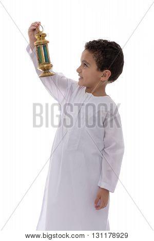 Little Happy Boy With Lantern Celebrating Ramadan