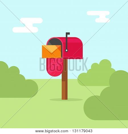 Mailbox vector illustration, flat post office box, red mail box cartoon design