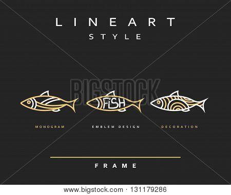 Icon fish. Emblem sea fish for menu design.