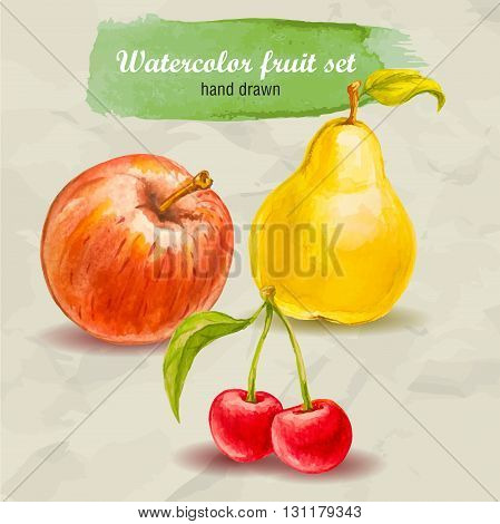 Vector watercolor hand drawn fruit set on paper with watercolor drops. Organic food illustration.Red apple pear and cherry