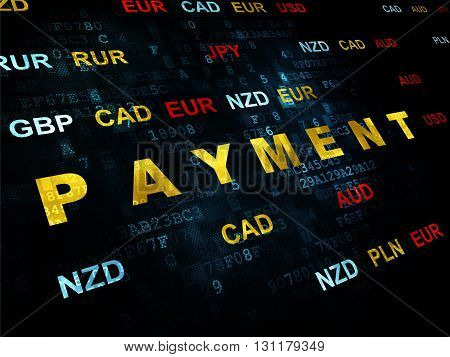 Currency concept: Pixelated yellow text Payment on Digital wall background with Currency