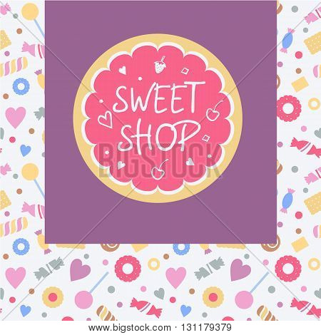 Logo Template For Sweets Shop. Pattern With Stylized Sweets, Con