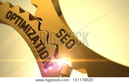 Seo Optimization on Mechanism of Golden Metallic Cogwheels. Seo Optimization on the Mechanism of Golden Cog Gears with Glow Effect. Seo Optimization - Industrial Design. 3D.