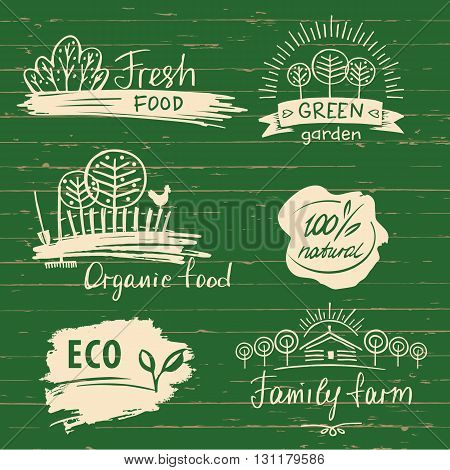 Organic Food Label And Logos Set. Farm Fresh Label And Logo Elem