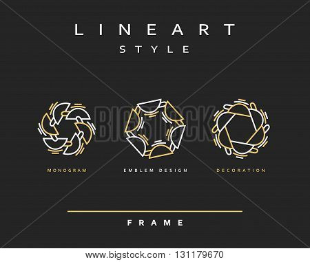 Set of elegant line art design. Monogram design element . Line art for use in the design . Monogram decor . Emblem design.