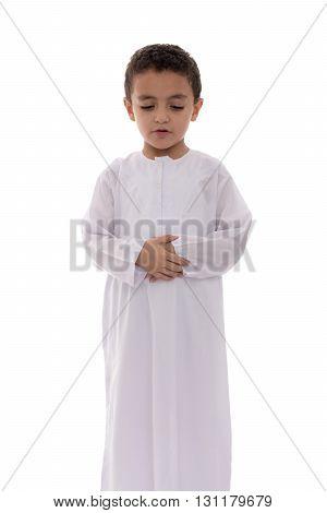 Little Muslim Boy During Prayer
