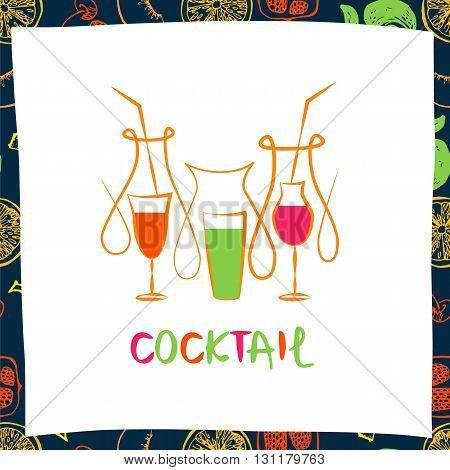 Vector Logo For Fresh Fruit Coctail. Illustration For Premium Be